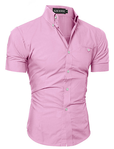 Men's Active Plus Size Cotton Shirt - Solid Colored