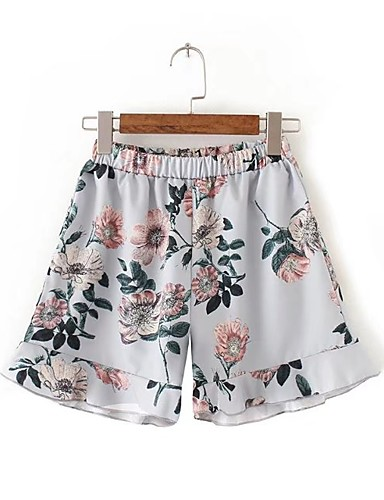 Women's Mid Rise Micro-elastic Shorts Pants,Street chic Loose Wide Leg Floral Chiffon Ruffle Floral