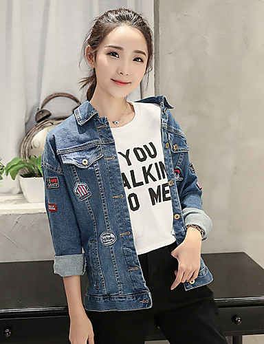 Women's Casual Cotton Denim Jacket - Solid Colored Shirt Collar / Fall