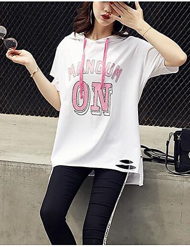Naiset Lyhythihainen Hupullinen Puuvilla Muu Kesä Yksinkertainen Päivittäin T-paita,Painettu Kirjain