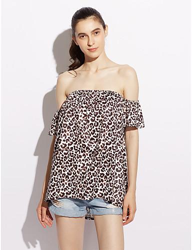 Naisten Venekaula-aukko Polyesteri Spandex Leopardikuvioinen T-paita, Leopardikuvio