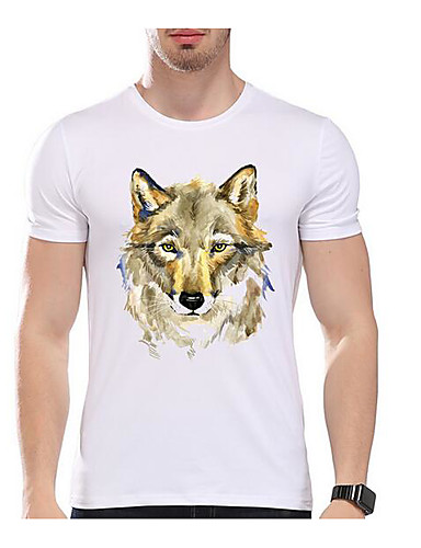 Men's Casual/Daily Simple T-shirt,Animal Print Round Neck Short Sleeves Cotton