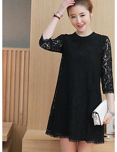 Women's Daily Going out A Line Loose Dress,Solid Mesh Round Neck Above Knee 3/4 Length Sleeves Cotton Cotton Blend Spring Summer Mid Rise