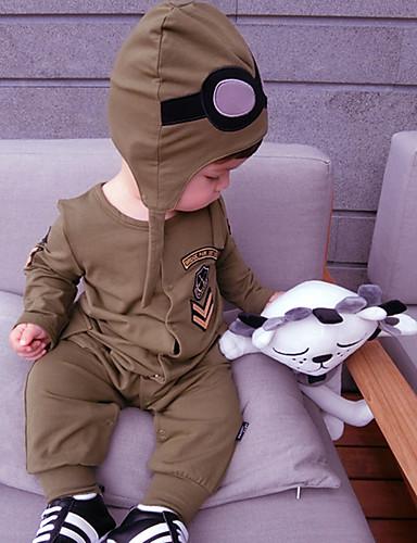 bebê Para Meninos Peça Única Côr Sólida Moderno Todas as Estações 100% Algodão Manga Longa Desenho Verde