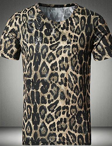 Polyester Kortermet,Rund hals T-skjorte Leopard Enkel Fritid/hverdag Herre
