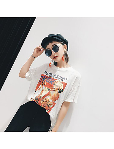 Women's Going out Vintage Summer T-shirt,Print Round Neck Short Sleeves Cotton Medium