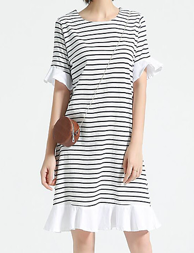 Women's Casual/Daily A Line Dress,Striped Round Neck Knee-length Half Sleeves Cotton Polyester Summer Mid Rise Micro-elastic Medium