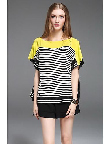 CELINEIA Women's Daily Boho T-shirt,Striped Round Neck Short Sleeves Silk