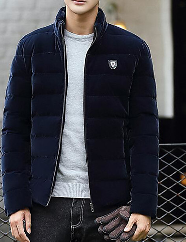 Men's Regular Padded Coat,Casual Daily Solid-Cotton Polyester Cotton Long Sleeves