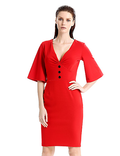 Women's Plus Size Party / Work Vintage Flare Sleeve Cotton Bodycon / Sheath Dress - Solid Colored Red, Vintage Style / Patchwork Deep V