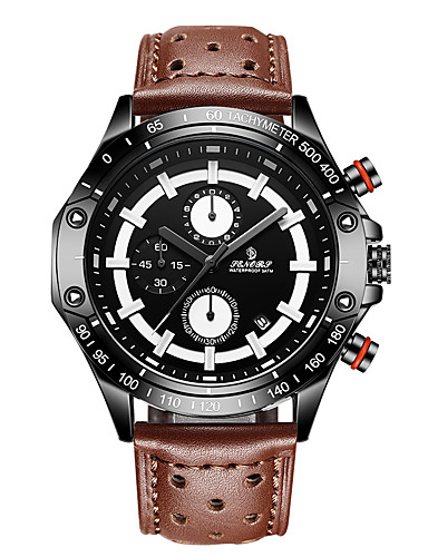 Men's Sport Watch Japanese Calendar / date / day / Water Resistant / Water Proof Genuine Leather Band Fashion Black
