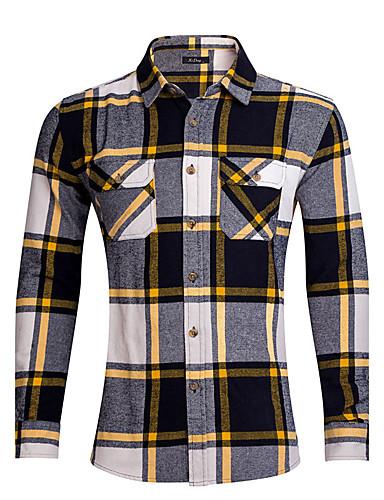 Men's Daily Plus Size Vintage Street chic Summer Shirt,Striped Plaid Peter Pan Collar Long Sleeves Cotton Medium