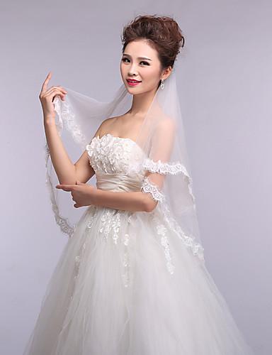 One-tier Lace Applique Edge Wedding Veil Elbow Veils 53 Appliques Tulle