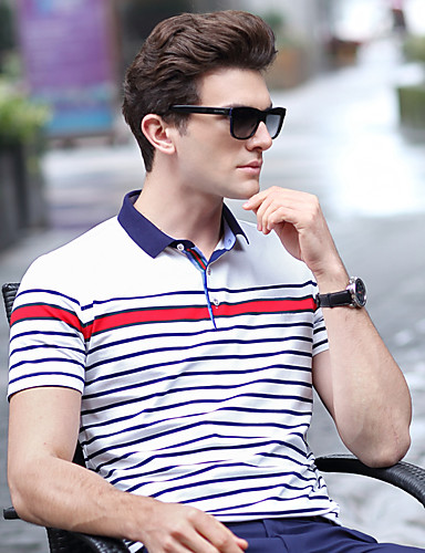 Men's Daily Work Plus Size Casual Summer T-shirt,Solid Striped Shirt Collar Short Sleeves Cotton Spandex Medium