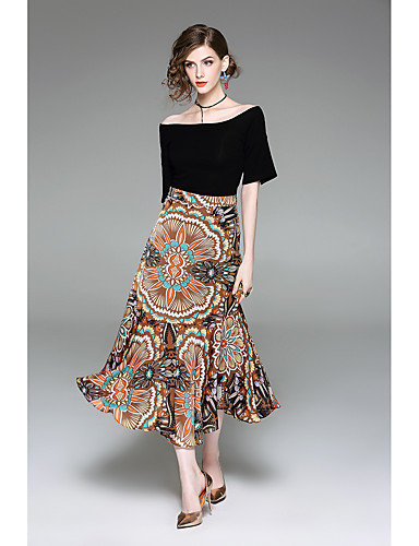 Women's Going out Cute Summer T-shirt Skirt Suits,Print Boat Neck Half Sleeves Inelastic