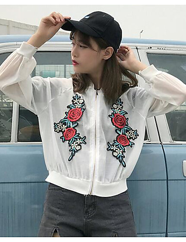 Women's Daily Modern/Contemporary Summer Jacket,Print Stand Long Sleeve Short Others