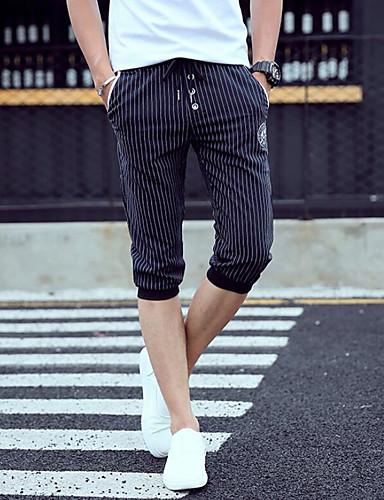 Men's Mid Rise Micro-elastic Culotte Pants,Simple Slim Striped