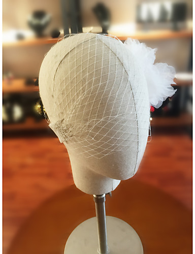 One-tier Cut Edge Wedding Veil Blusher Veils with Flower Comb Organza / Tulle / Birdcage