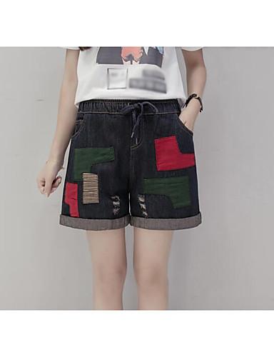 Dame Vintage Uelastisk Shorts Bukser,Bred Bukseben Mellomhøyt liv Fargeblokk