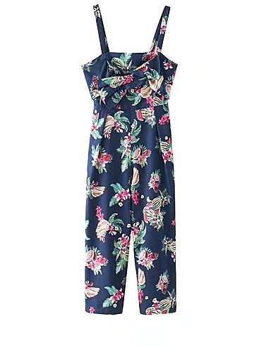 Women's Going out Casual/Daily Simple Street chic Floral Strap Jumpsuits,Wide Leg Sleeveless Summer Cotton