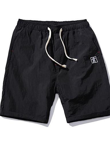 Herre Enkel Uelastisk Chinos Shorts Bukser,Rett Mellomhøyt liv Ensfarget Trykt mønster