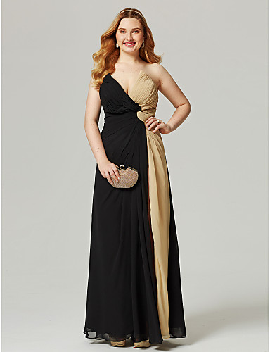 Sheath / Column V Neck Floor Length Chiffon Color Block Cocktail Party / Prom / Formal Evening Dress with Split Front / Criss Cross / Ruched by TS Couture®