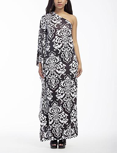 Women's Vintage Sexy Boho Sheath Dress,Print One Shoulder Maxi Long Sleeves Polyester Spring Fall High Rise Micro-elastic Medium