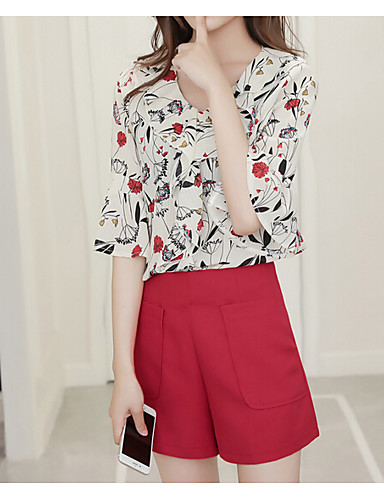 Women's Going out Casual Summer Blouse Pant Suits