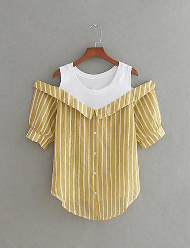 Damen Gestreift Einfach Niedlich Ausgehen Lässig/Alltäglich T-shirt,Rundhalsausschnitt Frühling Sommer Kurzarm Baumwolle Polyester Dünn