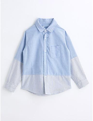 Boys' Color Block Shirt, Cotton Spring Fall Long Sleeves Light Blue