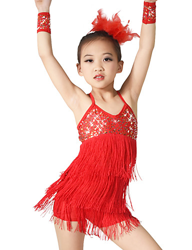 3fa5afe1f Latin Dance Outfits Women's Performance Elastic Elastane Sequined Lycra  Paillette Tassel Sleeveless Natural Dress Bracelets Headwear