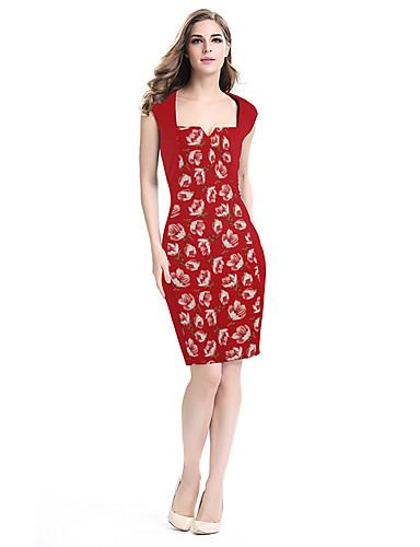 Mulheres Trabalho Tubinho Bainha Vestido - Estilo vintage Fashion Patchwork Estampado, Estampa Colorida Sexy Decote Quadrado Cintura Alta