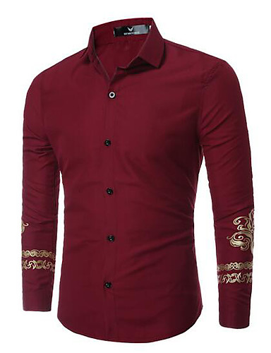Bomull Annet Langermet,Skjortekrage Skjorte Ensfarget Trykt mønster Enkel Fritid/hverdag Arbeid Herre