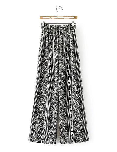 Women's Mid Rise Micro-elastic Wide Leg Pants,Street chic Geometric Spring Summer