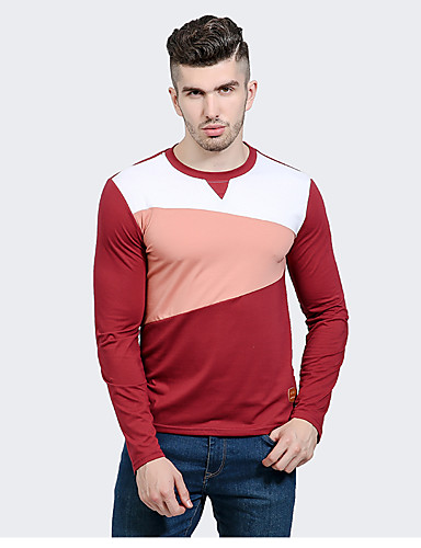 Men's Vintage T-shirt - Color Block Round Neck / Long Sleeve
