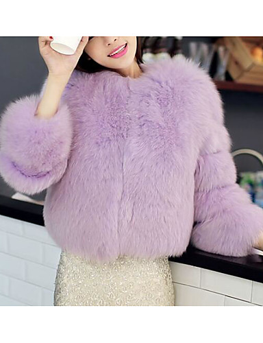 Women's Daily Simple Casual Winter Fall Regular Fur Coat, Solid Round Neck Others