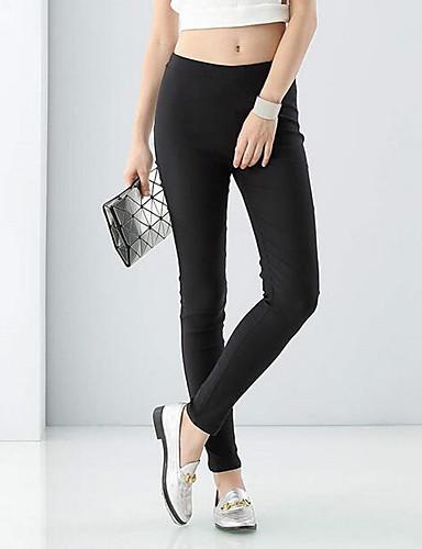 Women's Mid Rise Micro-elastic Skinny Pants,Simple Slim Solid