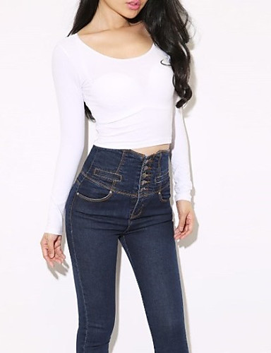 Women's Going out Vintage Summer T-shirt,Solid Strapless Long Sleeves Cotton Thin