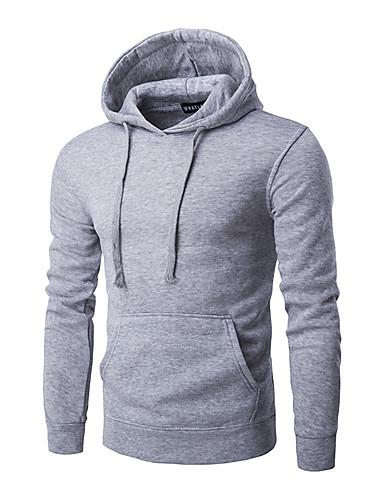 Men's Long Sleeves Hoodie - Solid Colored Hooded