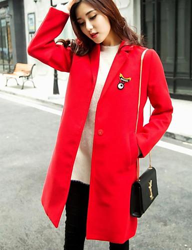 Women's Daily Simple Casual Winter Fall Coat,Solid Shawl Lapel Long Sleeve Regular Polyester