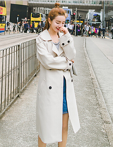 Women's Daily Casual Fall Trench Coat,Solid Shawl Lapel Long Sleeve Long Polyester