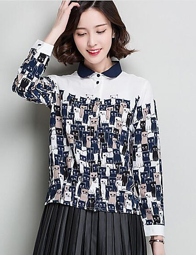 Polyester Langermet,Skjortekrage Skjorte Ensfarget Trykt mønster Enkel Fritid/hverdag Dame