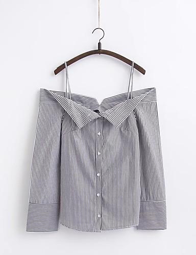 Akryl Tynn Medium Langermet,Med stropper Skjorte Stripet Sommer Enkel Sexy Gatemote Ut på byen Fritid/hverdag Dame