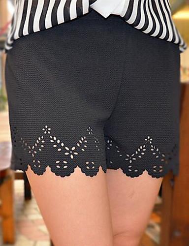 Dame Fritid Gatemote Mikroelastisk Løstsittende Shorts Bukser,Mellomhøyt liv Polyester Ensfarget Alle årstider