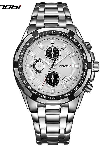 SINOBI Men's Quartz Wrist Watch Japanese Calendar / date / day Chronograph Large Dial Noctilucent Shock Resistant Metal Band Luxury