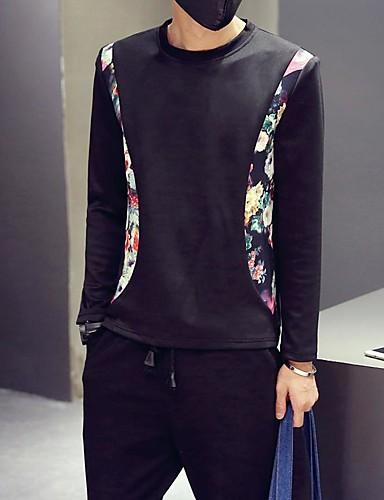 Men's Daily Casual Sweatshirt Print Round Neck Micro-elastic Cotton Long Sleeve Fall Winter