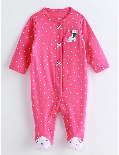Baby Girls' One-Pieces, Cotton Spring/Fall Long Sleeves Fuchsia