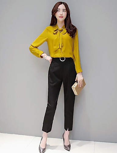 Women's Daily Contemporary Summer Blouse Pant Suits,Solid V Neck Long Sleeve