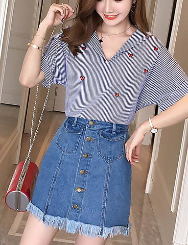 Women's Daily Casual Summer Shirt Skirt Suits,Striped Color Block V Neck Short Sleeve Cotton Micro-elastic