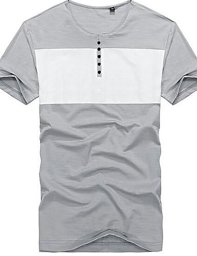 Bomull Annet Kortermet,Rund hals T-skjorte Ensfarget Trykt mønster Enkel Fritid/hverdag Herre